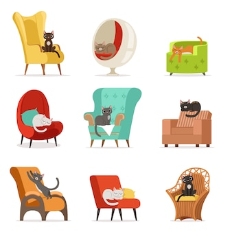 Leuke verschillende kattenkarakters die en op leunstoelenreeks van illustraties liggen rusten