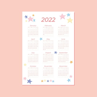 Leuke verticale kalendersjabloon voor 2022, jaarkalender met schattige sterachtergrond