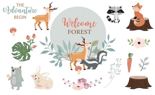 Leuke verzameling bosobjecten met stinkdier, beer, vos, hert, stronk en bladeren