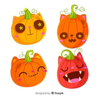 Leuke verzameling van halloween-pompoen in plat ontwerp