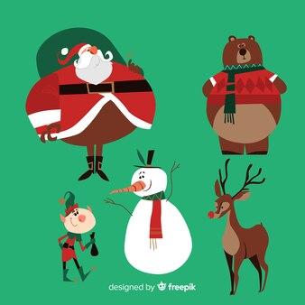 Leuke verzameling van kerstmis in plat design