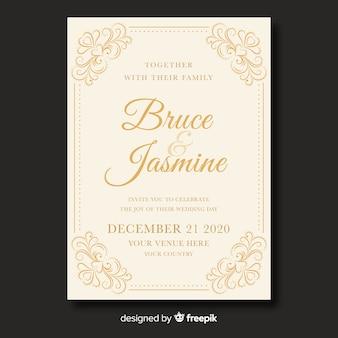 Leuke vintage bruiloft uitnodiging sjabloon