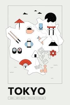 Leuke vintage geometrische kaart van tokio