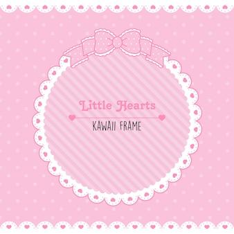 Leuke vintage lijst kleine roze hartjes