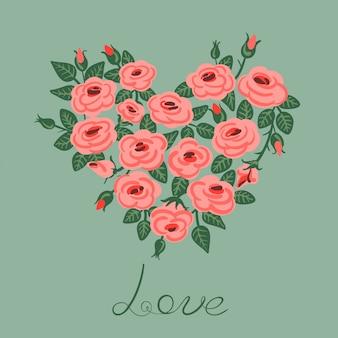 Leuke vintage rozen gerangschikt in een hartvorm