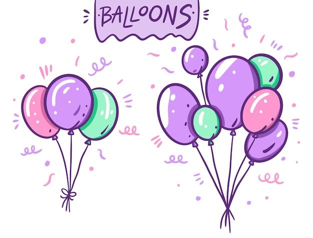 Leuke violette, groene en roze geplaatste ballons. in cartoon-stijl. geïsoleerd op witte achtergrond.