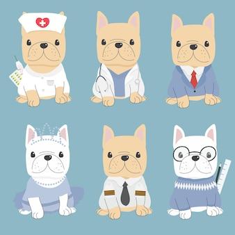 Leuke vlakke stijl franse bulldog in carrière kostuumcollectie