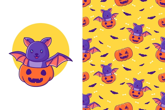 Leuke vleermuis in pompoen pompoen happy halloween cartoon illustraties