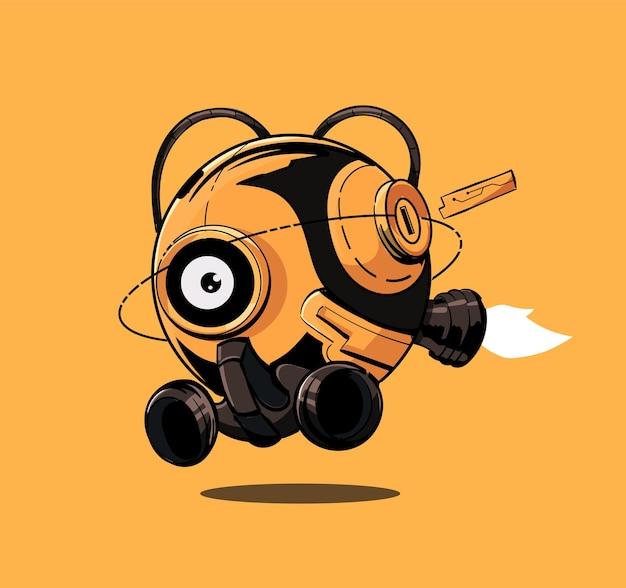 Leuke vliegende ronde balrobot in sci-fi cyberpunkstijl, gele kleur Premium Vector