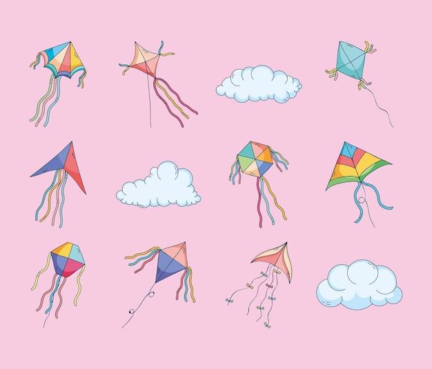 Leuke vliegers en wolken set