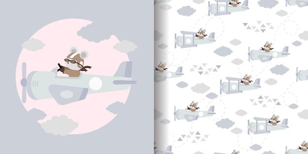 Leuke vliegtuig cartoon naadloze patroon print oppervlakte ontwerp illustratie