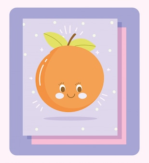 Leuke voeding cartoon karakter fruit citrus oranje vectorillustratie