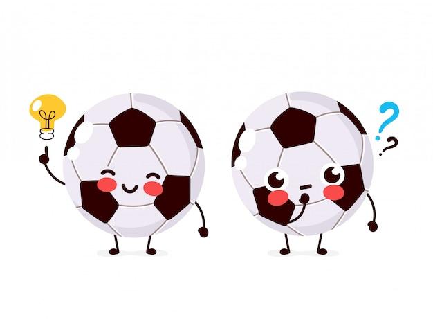 Leuke voetbalbal met vraagteken en gloeilampenkarakter. platte cartoon karakter illustratie pictogram ontwerp. geïsoleerd op een witte achtergrond. de voetbal heeft ideeconcept