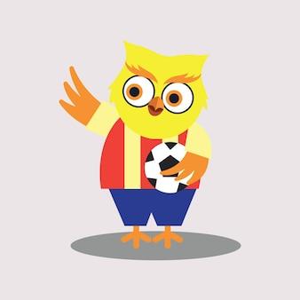 Leuke voetbalspeler van de cartoon karakter van de uil