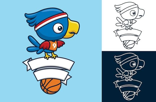 Leuke vogel de basketbalspeler zit op lintdecoratie. vectorbeeldverhaalillustratie in vlakke pictogramstijl