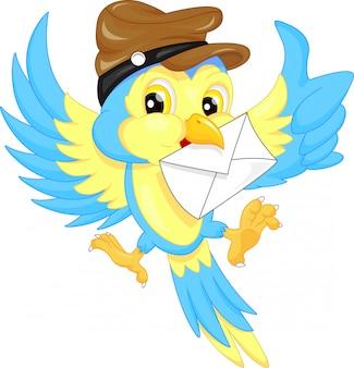 Leuke vogel die een hoed draagt, die een brief draagt