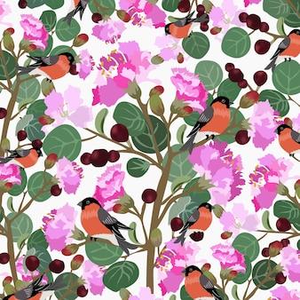 Leuke vogel en zoete bloem met groen bladpatroon.