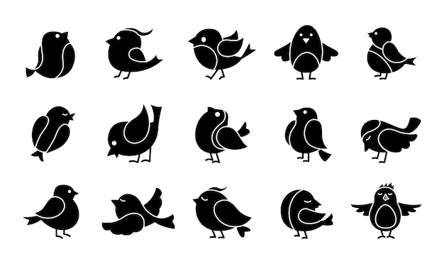 Leuke vogel glyph cartoon set. zwarte vogeltjes, verschillende poses, vliegen. gelukkig karakter. hand getekend plat abstract pictogram. modern trendy