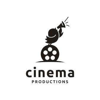 Leuke vogel met filmapparatuur. goed logo-ontwerp voor move maker / cinematography