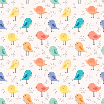 Leuke vogel naadloze patroon achtergrond