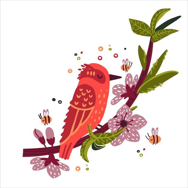 Leuke vogel zittend op een tak met perzik bloemen doodle handgetekende stijl