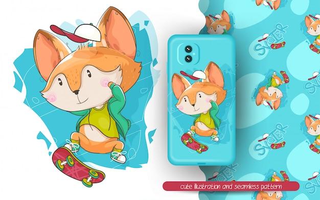 Leuke vos die een skateboardillustratie en naadloos patroon speelt