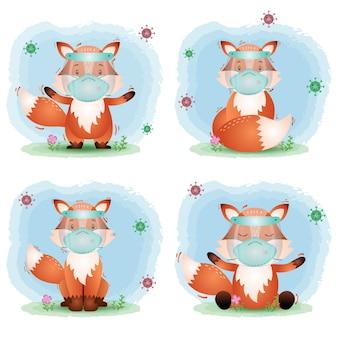 Leuke vos die gezichtsscherm en maskercollectie gebruikt