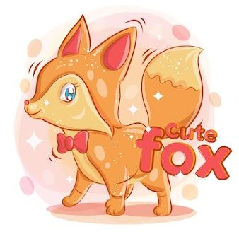Leuke vos draagt een rood lint met glimlach. kleurrijke cartoon illustratie.