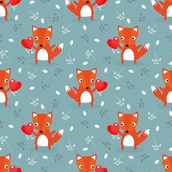 Leuke vos en rood hart voor valentijnskaart naadloos patroon.