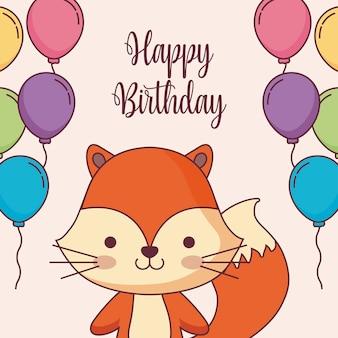 Leuke vos gelukkige verjaardagskaart met ballonnen helium