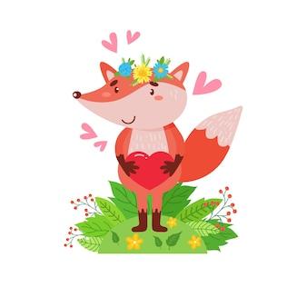 Leuke vos in een krans van bloemen staat op een groen gazon. eenvoudige illustratie op een geïsoleerde achtergrond.