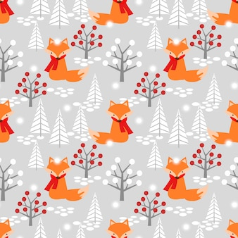 Leuke vos in kerstmis winter naadloze patroon.