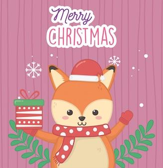 Leuke vos met cadeau en sjaal vrolijk kerstfeest