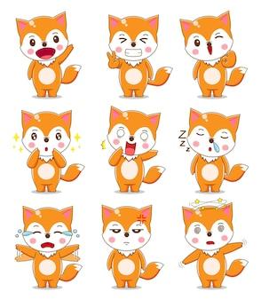 Leuke vos met verschillende uitdrukking