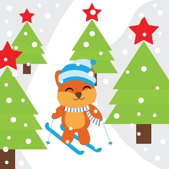 Leuke vos-speelski op sneeuwberg