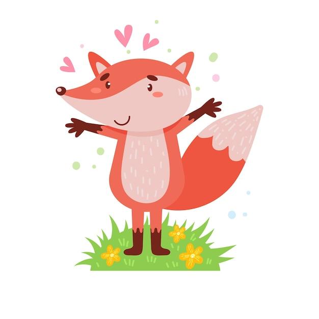 Leuke vos staat op een groen gazon. eenvoudige illustratie op een geïsoleerde achtergrond.
