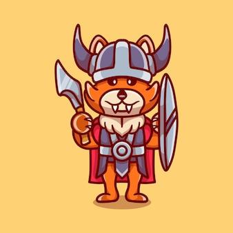 Leuke vos viking met bijl en schild
