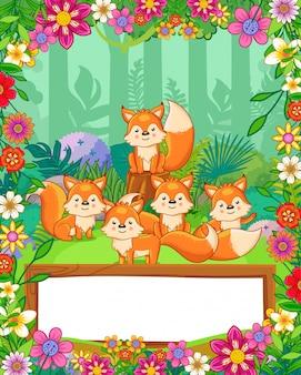 Leuke vossen met bloemen en houten leeg teken in het bos. vector
