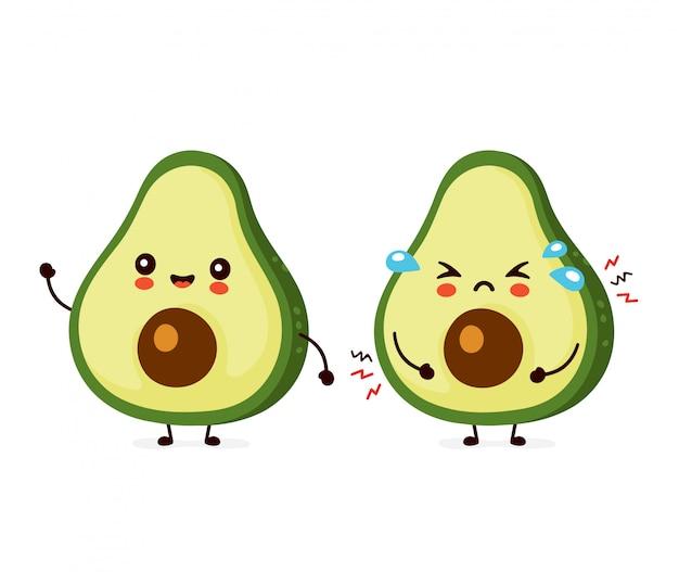 Leuke vrolijke en droevige grappige avocado. cartoon karakter illustratie pictogram ontwerp. geïsoleerd