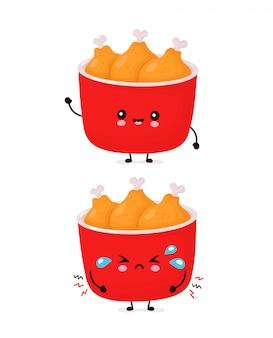 Leuke vrolijke en droevige grappige gebakken kip emmer. cartoon karakter illustratie pictogram ontwerp. geïsoleerd