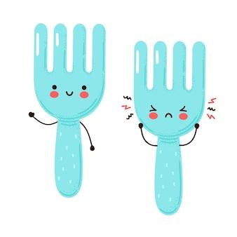 Leuke vrolijke en droevige grappige vork. geïsoleerd op witte achtergrond. cartoon karakter hand getrokken stijl illustratie