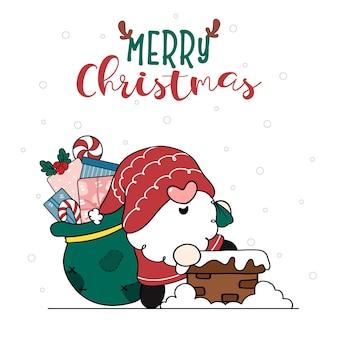 Leuke vrolijke glimlach santa gnome draagt een zak met geschenken die in een huisschoorsteen gaan vrolijk kerstfeest