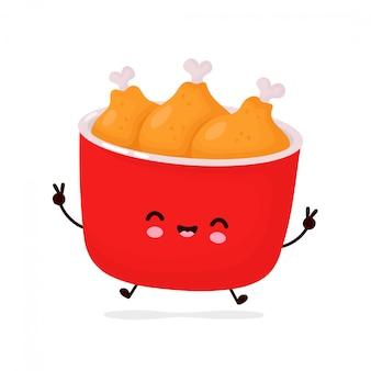 Leuke vrolijke grappige gebakken kip emmer. cartoon karakter illustratie pictogram ontwerp. geïsoleerd