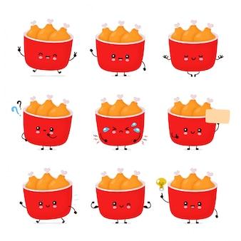 Leuke vrolijke grappige gebakken kip emmer set collectie. cartoon karakter illustratie pictogram ontwerp. geïsoleerd op een witte achtergrond