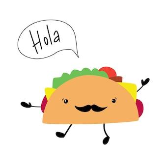 Leuke vrolijke grappige taco en tekstballon hola mexicaanse keuken kan worden gebruikt voor bannerflyer