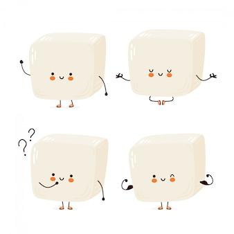 Leuke vrolijke grappige tofu set collectie. cartoon karakter hand tekenen stijl illustratie. geïsoleerd op een witte achtergrond