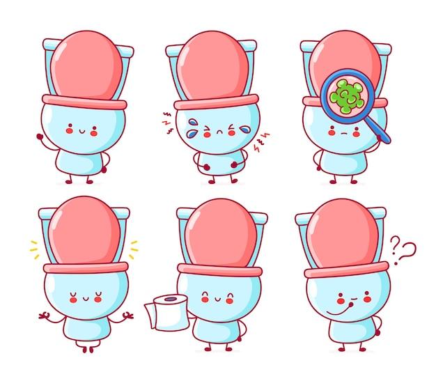 Leuke vrolijke grappige toiletset collectie. lijn cartoon kawaii karakter illustratie pictogram. op witte achtergrond