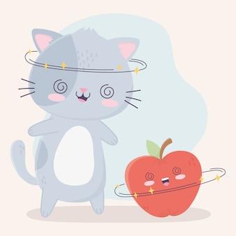 Leuke vrolijke kat en appel kawaii stripfiguur