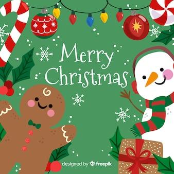 Leuke vrolijke Kerstmisachtergrond met sneeuwman en peperkoek