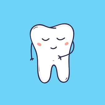 Leuke vrolijke kies met vreedzaam gezicht. schattig symbool voor tandheelkundige kliniek, tandheelkundig ziekenhuis, mondzorgcentrum. stripfiguur geïsoleerd op blauwe achtergrond. kleurrijke vectorillustratie.